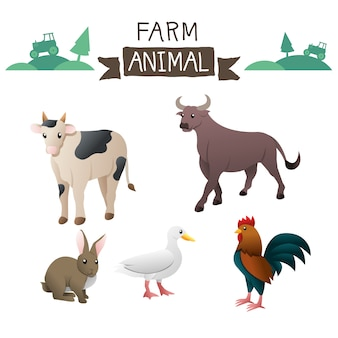 Farm animals vector set