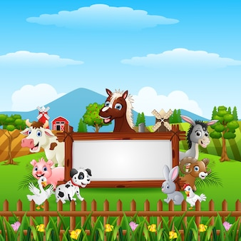 Farm animals with a blank sign wood
