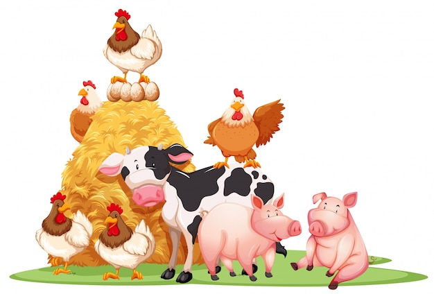 Farm animals with haystack illustration