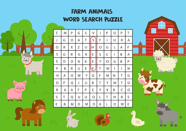 Farm animals word search puzzle for kids. funny brain teaser for children.