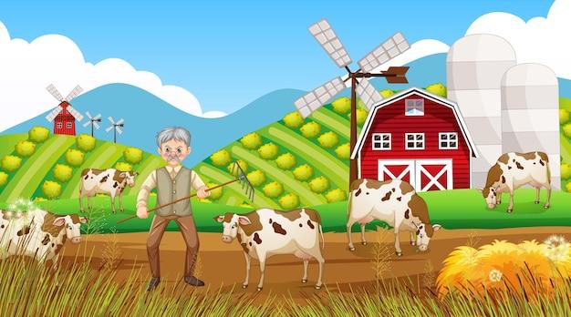 Ферма в дневное время со старым фермером и сельскохозяйственными животными