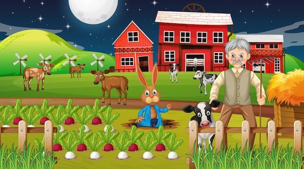 老人と家畜との夜のシーンでの農場