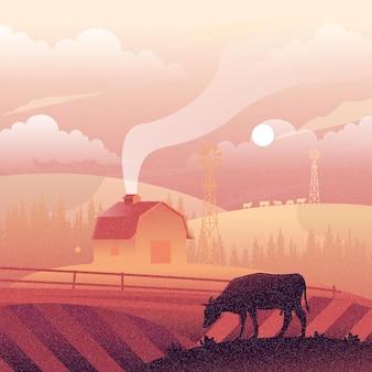日没時の農場