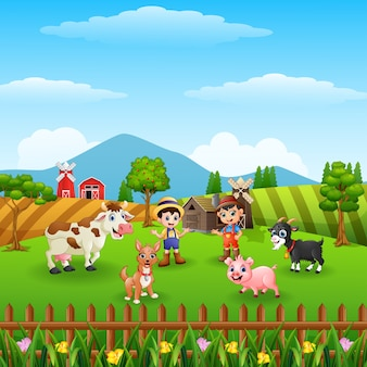 Farm background on hill with the other animals