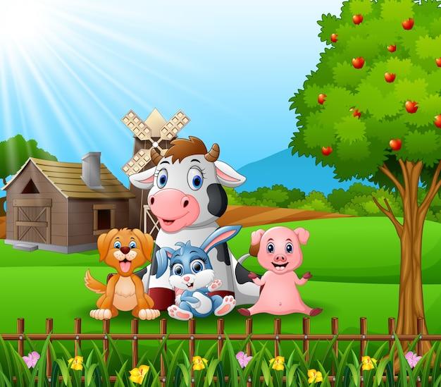 Farm background with happy animals