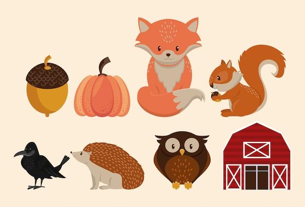 Farm barn and cute animals cartoons
