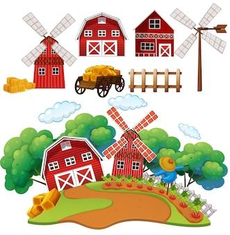 A farm and barn house