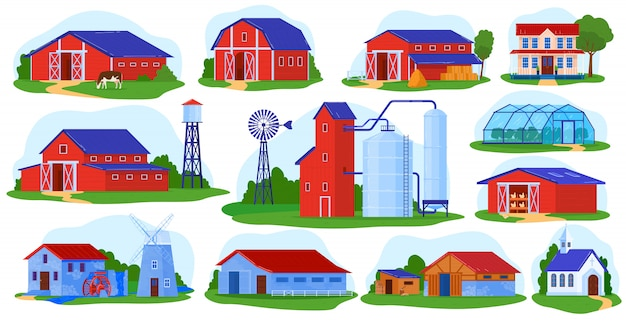 Farm building vector illustration set.