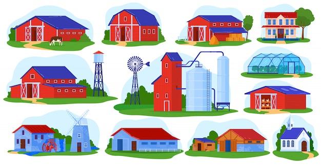 Набор векторных иллюстраций строительства фермы.