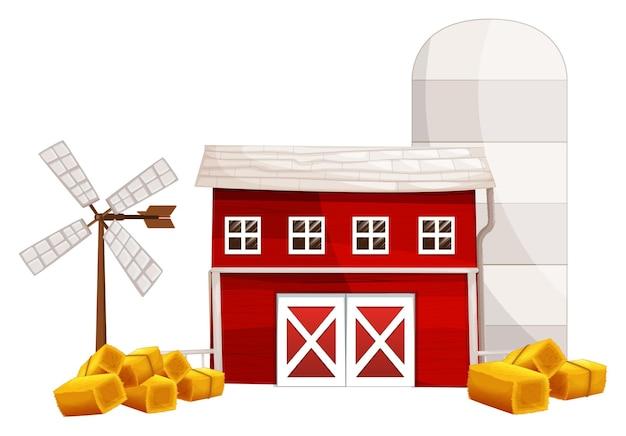 農場の建物と干し草の山