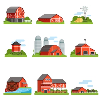 Farm buildings and constructions set, agriculture industry and countryside objects  illustrations