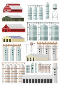 Farm buildings and constructions vector set