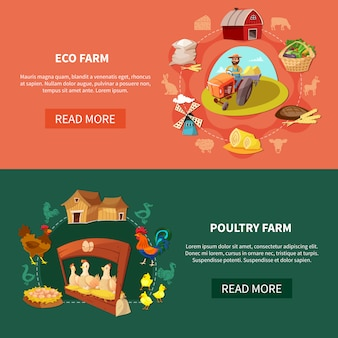 Farm cartoon banner set