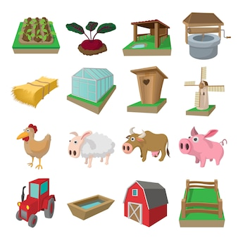 Farm cartoon icons set isolated