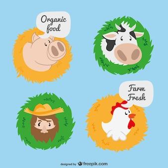 農場の漫画のラベル