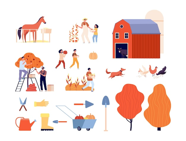Farm collection. animals, farmers harvesting garden. isolated rural ranch, autumn agriculture fields. plants, adults and children gardening or farming vector illustration. farm agriculture organic