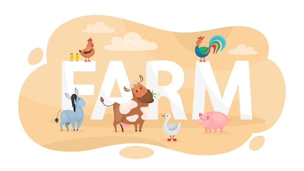 농장 개념. 시골에서의 삶에 대한 아이디어.