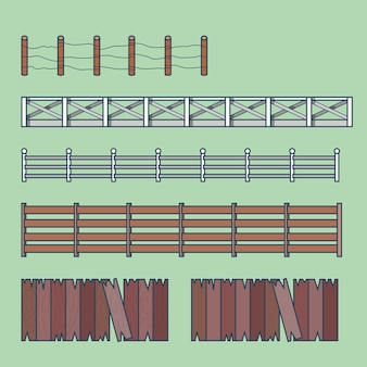 Farm countryside fence fencing element architecture building set. linear stroke outline    icons.
