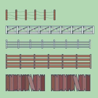 農場の田園地帯の柵柵要素建築建物セット。線形ストロークのアウトラインアイコン。