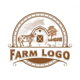 Farm Cow Pig Cicken  logo vintage