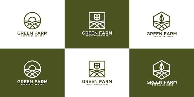 라인 아트 설정 농장 창조적 인 로고