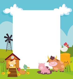 Плакат с милыми животными на ферме