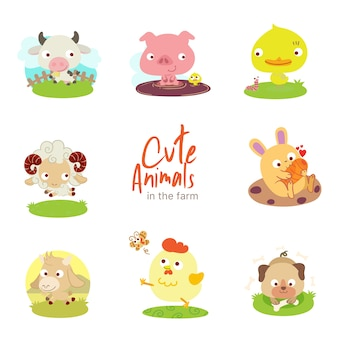 Farm cute animals