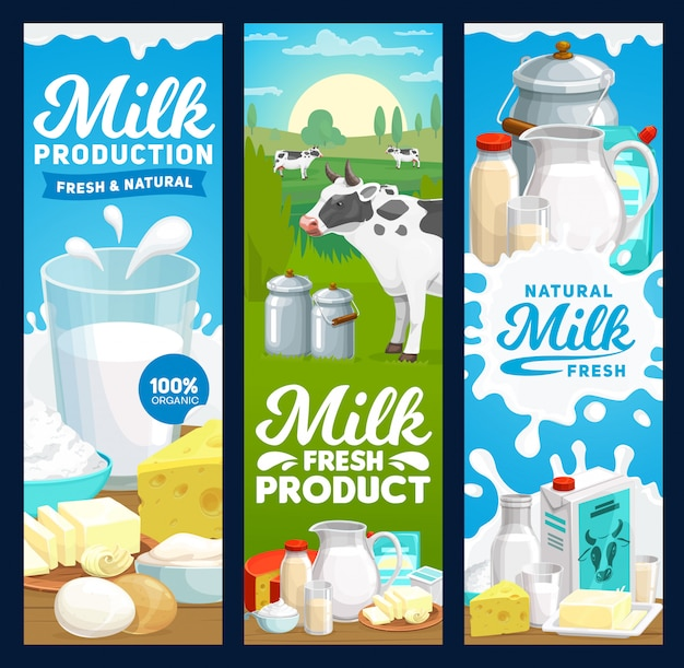 Farm dairy and milk products banners, farm food