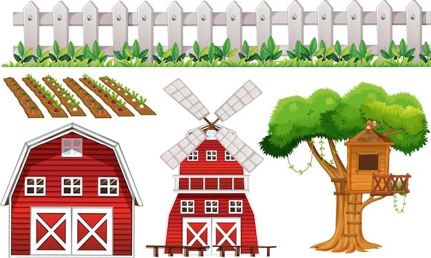 흰색 배경에 고립 된 농장 요소 집합