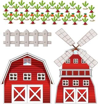 Insieme di elementi di fattoria isolato su sfondo bianco Vettore gratuito
