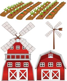 Insieme di elementi di fattoria isolato su sfondo bianco