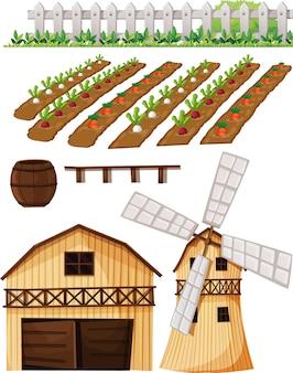 Insieme di elementi di fattoria isolato su bianco