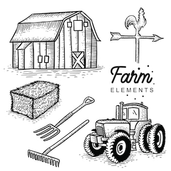 Farm elements hand drawn