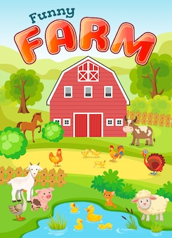 Farm farm illustration with animals.