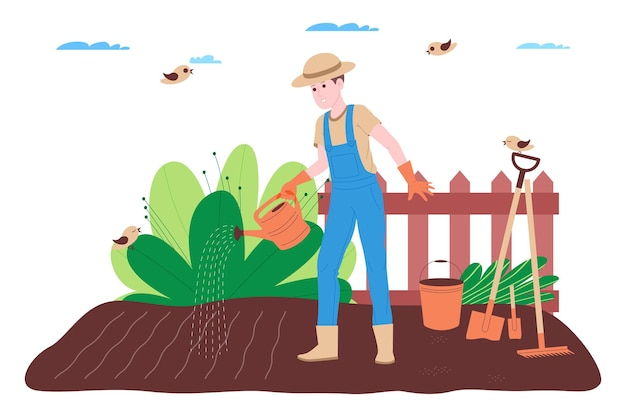 Farm, farming and agriculture. a farmer worker works on a farm, orchard, or vegetable garden: digging the ground, making beds, planting seedlings of vegetables and fruits, and watering the plants.