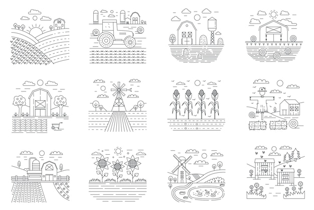 Farm and farming agriculture fields concept line icons set .