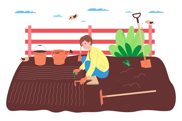 農場、農業、農業。農民労働者は、農場、果樹園、または野菜畑で働いています。地面を掘り、ベッドを作り、野菜や果物の苗を植え、植物に水をやります。
