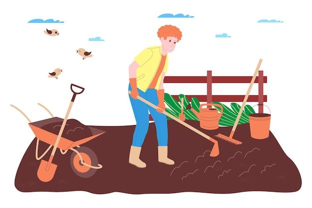 Ферма, сельское хозяйство и сельское хозяйство. рабочий-фермер работает на ферме, в саду или огороде: копает землю, заправляет грядки, сажает рассаду овощей и фруктов и поливает растения.