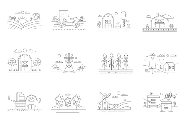Farm and farming fields thin line mini landscapes set isolated, agriculture concept