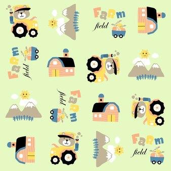 パターンベクトルに面白い農夫のドライブトラクターとの農場の漫画