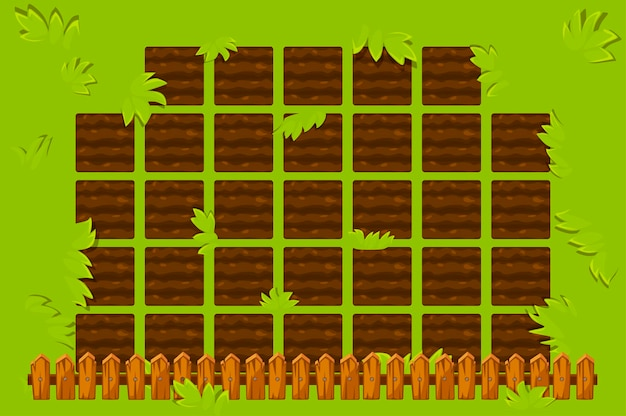 Farm field with wooden fence to play. game gui garden bed background.