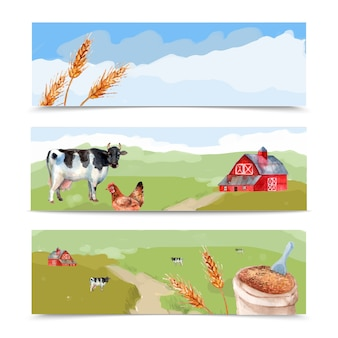 Farm and fields watercolor horizontal banners set with cows wheat and house