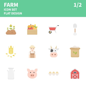 Farm flat icon set.  illustration.