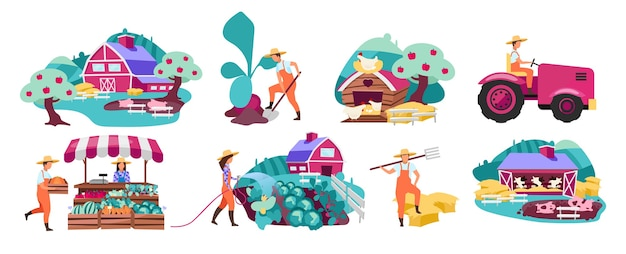 Farm flat illustrations set. horticulture and vegetable gardening. farmers market produce concept. cattle, livestock and poultry farming. agricultural plantation. rural, village farmland