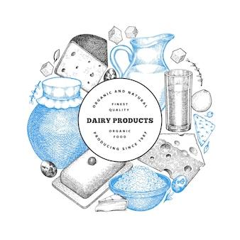 ファームフードデザインテンプレート。手描きの乳製品のイラスト。刻まれたスタイルのさまざまな乳製品と卵。レトロな食べ物の背景。