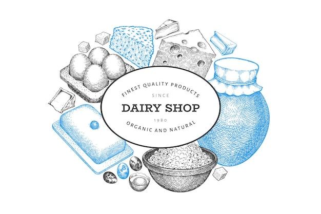 Шаблон оформления еды фермы. нарисованная рукой молочная иллюстрация. гравировка в стиле различных молочных продуктов и яиц