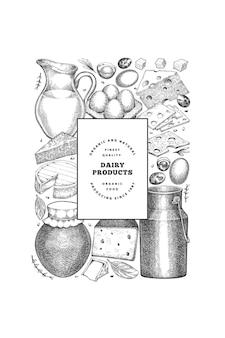 ファームフードデザインテンプレート。手描きのベクトル乳製品イラスト。刻まれたスタイルのさまざまな乳製品と卵のバナー。レトロな食べ物の背景。