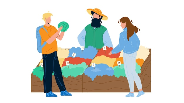 Farm food market customers choose products vector. clients choosing fresh natural vegetables at agricultural market counter. character seller selling healthy nutrition flat cartoon illustration