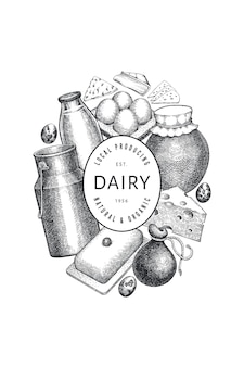 ファームフードテンプレート。手描きの乳製品のイラスト。刻まれたスタイルのさまざまな乳製品と卵のバナー。ヴィンテージ料理の背景。