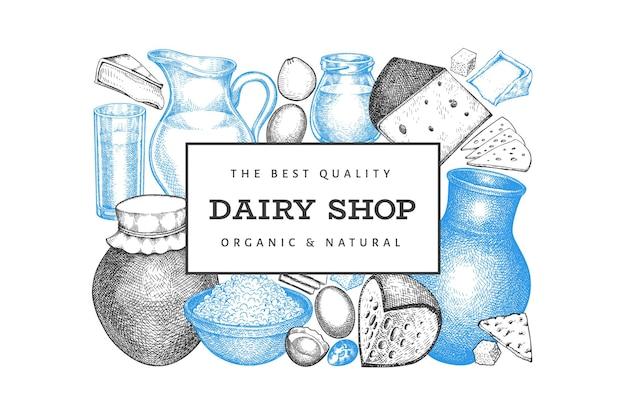 Шаблон еды фермы. нарисованная рукой молочная иллюстрация. гравировка в стиле различных молочных продуктов и яиц. старинный продовольственный фон.